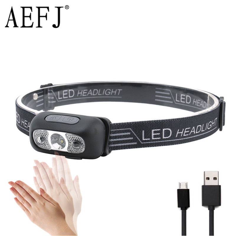 Mini Rechargeable LED Headlamp Body Motion Sensor Headlight Camping Flashlight Head Light Torch Lamp With USB-in Headlamps from Lights & Lighting