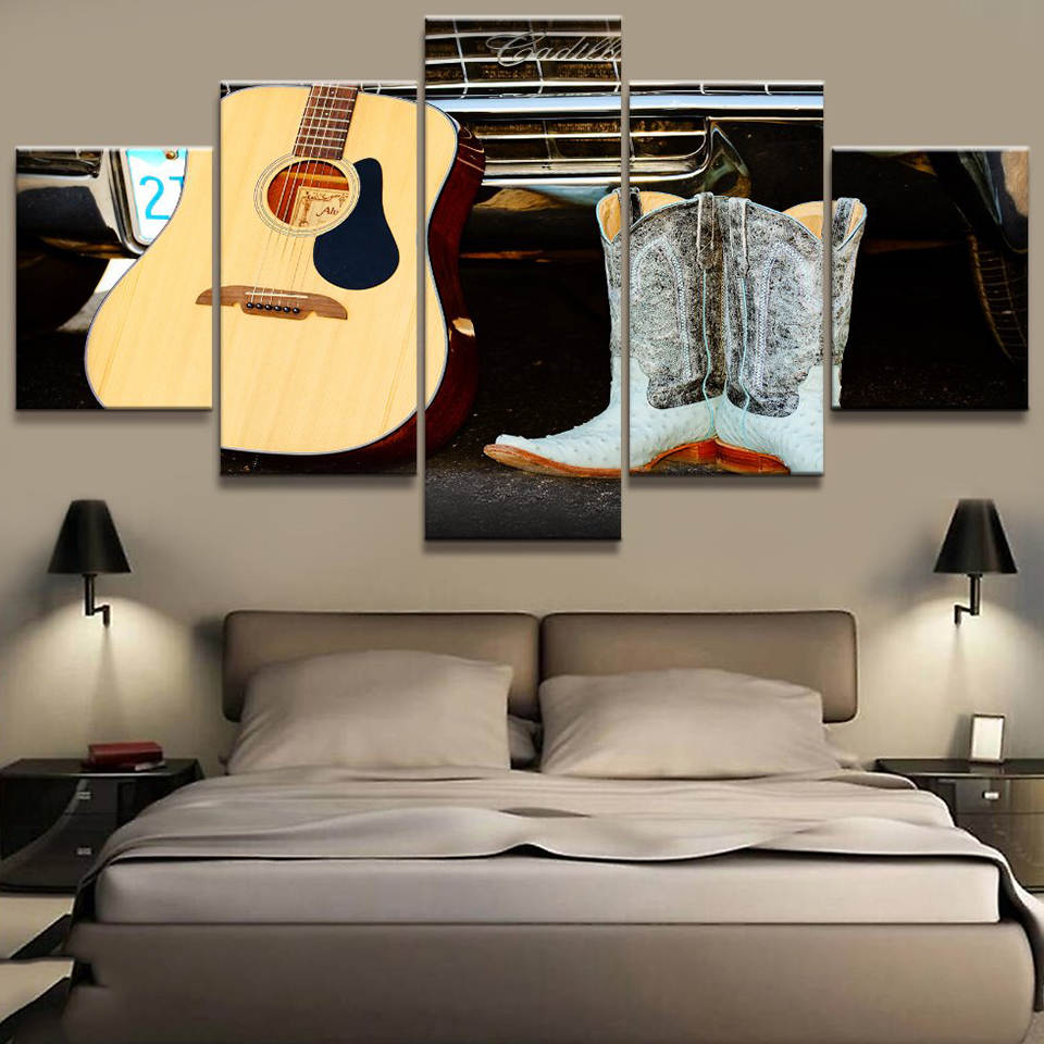 canvas living room hd pictures home decor 5 panel guitar instruments painting wall art modular. Black Bedroom Furniture Sets. Home Design Ideas