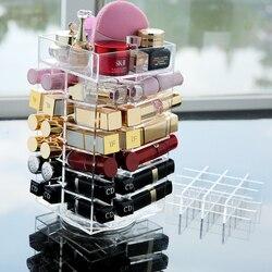 M Rotating Acrylic Makeup Organizer Storage Case Lipstick Holder Boxes Rotating Lip Gloss Display Boxes 64 bottles C5132