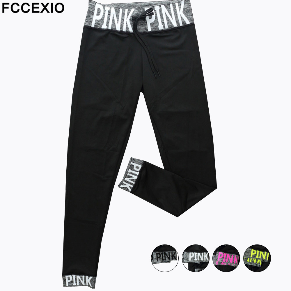 FCCEXIO High Waist Slim  Pink Legging Women Love Pink Letter Print Workout Leggings Sporting Slim High Street Fitness Leggings