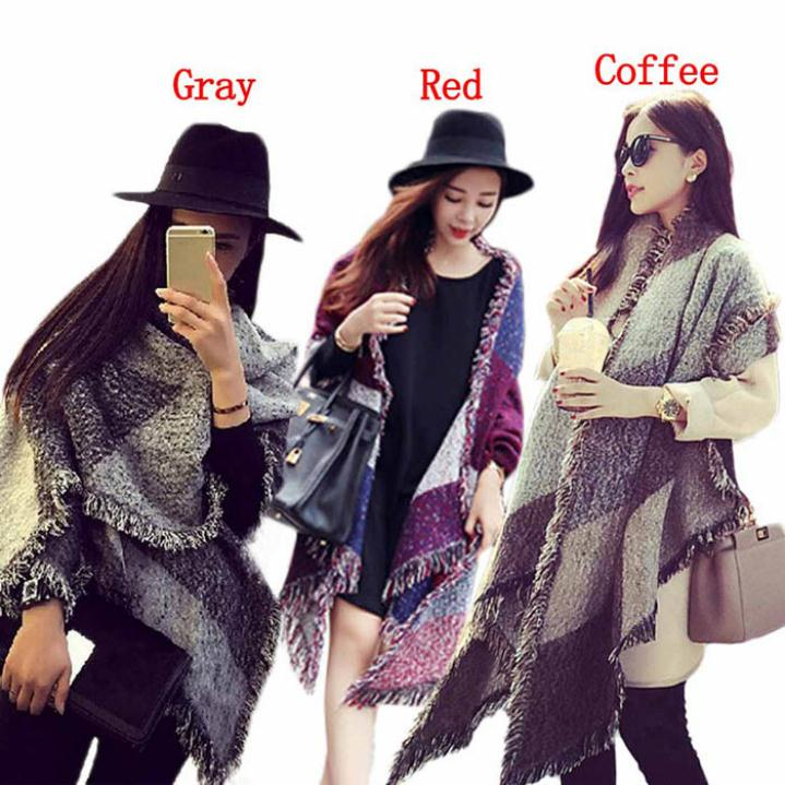 Good looking Fashion Women s Large font b Tartan b font Scarf Shawl Stole Plaid Woollen