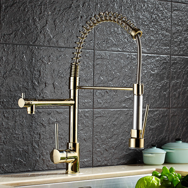 Free Shipping copper gold chrome Nickel finished Spring Pull Out Hot Cold Water Kitchen Faucet Sink