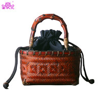 The  Chinese Style Woman Mini Package Rattan Braided Bag Bamboo Straw Basket