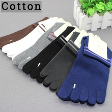 New 1 Pair Men Healthy Care Cotton Five Toe Cycling Socks Male Casual Breathable 5 Toes Cloven Solid Sock Hiking Running
