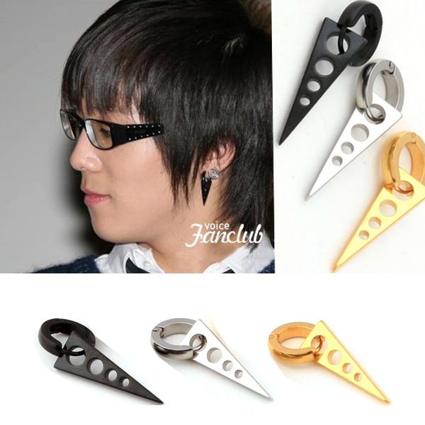 1 Pair Newest Mens Women Anium Steel Dangle Spike Triangle Stud Earring Punk Star Circle Cross Three Type Ear Plug In Earrings From Jewelry