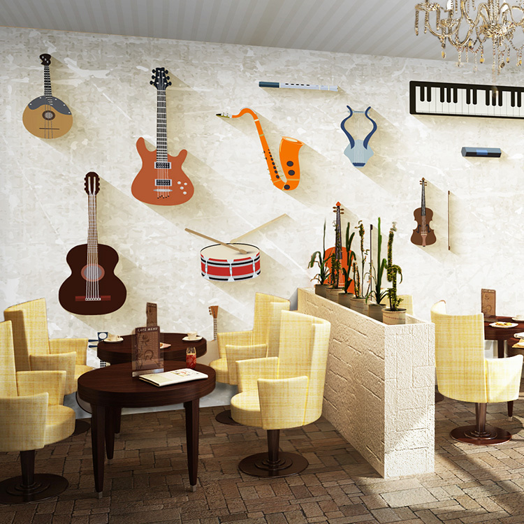 Free shipping Modern instruments guitar wall murals personality