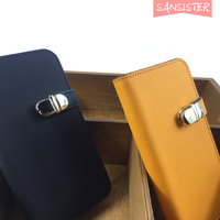 Metal Buttons Following Caese A Mirror Folding Wallet Case ID Credit Card Pouches Leather Flip Stand