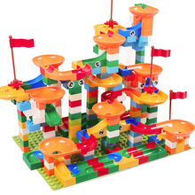 Мраморный гоночный лабиринт, Шариковая дорожка строительные блоки пластиковая воронка слайд блоки большого размера совместимые Legoed Duplo блоки игрушки для детей