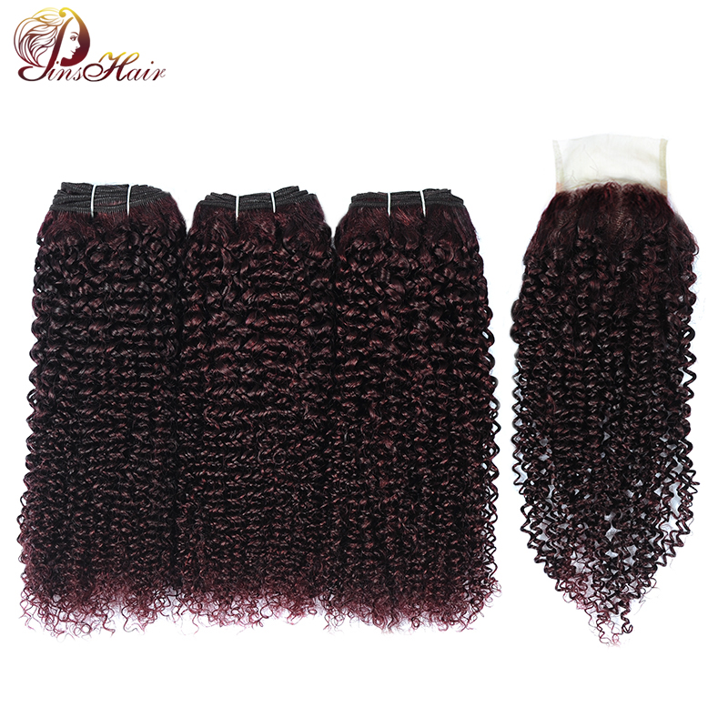 Dark Red Burgundy Afro Kinky Curly 3 Bundles With Closure Brazilian Hair Weave Bundles With Closure