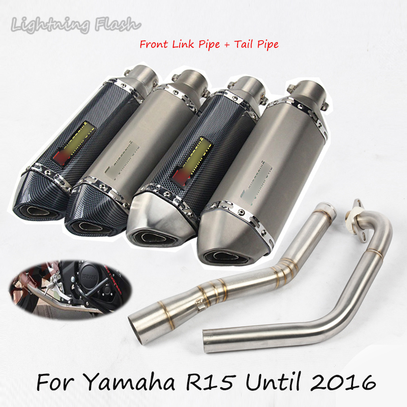 For Yamaha R15 Motorcycle Exhaust Pipe Silencer Tail Pipe With Front Connect Pipe Exhaust Muffler Tube Slip OnFor Yamaha R15 Motorcycle Exhaust Pipe Silencer Tail Pipe With Front Connect Pipe Exhaust Muffler Tube Slip On