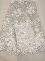 Africain blanc Tull Dentelle Tissu 3D Fleur Tissu avec perles de Haute Qualité Dentelle Perlée Tissu De Mode De Mariage/Partie robe et131