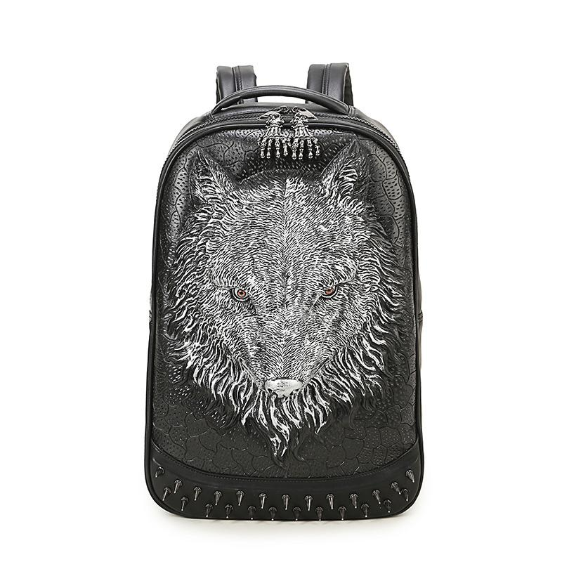 Personality 3D Wild Wolf Head Backpacks Punk Rivet Leather Shoulder Bags Men and Women Black PU Big Pack Large Space Laptop Bags punk women s satchel with rivet and pu leather design