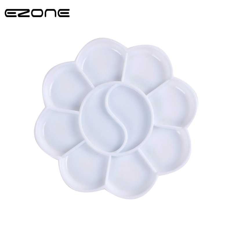EZONE 10 Holes Color Palette Plum Blossom Shape Color Mixer Acrylic Gouache Watercolor Paint Palette School Stationery Papelaria