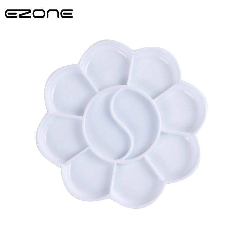 EZONE 10 Holes Color Palette Plum Blossom Shape Color Mixer Acrylic Gouache Watercolor Paint Palette School Stationery Papelaria