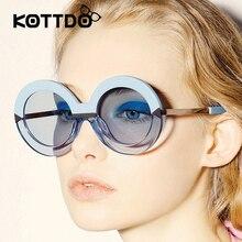 New marca mujeres ronda círculo gafas de sol mar azul de moda femenina de gran tamaño gafas de espejo mujeres uv400 oculos gafas de sol mujer