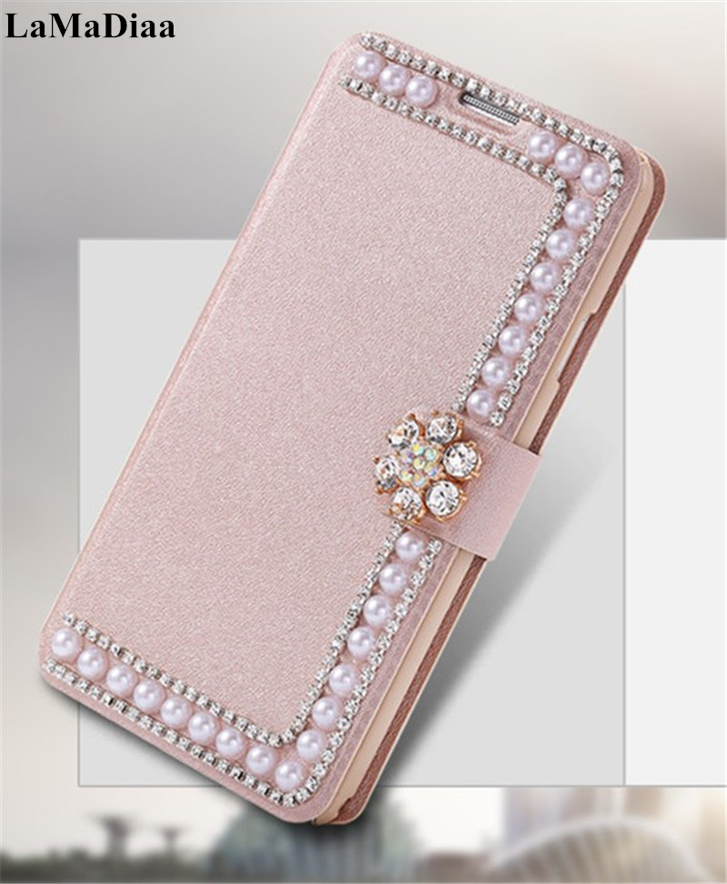 LaMaDiaa Bling Diamond Pearl Flip PU Leather Cover Wallet Case For iphoneX XR XS MAX 11 Pro MAX 5S 6 6S 7 8 PLUS Protective Case