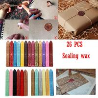 Sealing Wax 26Pcs Vintage Manuscript Sealing Seal Wax Sticks Wicks For Postage Letter Wedding And Party