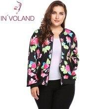 IN'VOLAND Plus Size Women Short Jacket Coat L-4XL Autumn Slim Turn Down Collar Print Large Coat Bomber Tops Outerwear Big Size