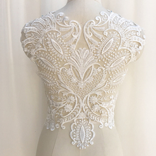 Exquisite 3D Heavily Bead Bodice Lace Applique for Haute Couture , Bridal Gown Illusion Back Applique Wedding Motif 45 x 38 cm 1 pc deluxe 3d luxury bridal gown bodice rhinestone applique in rose gold silver gold wedding gown couture dress motif lace