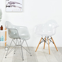 Modern minimalist transparent creative chair casual home plastic back office chair lazy desk chair WF610208