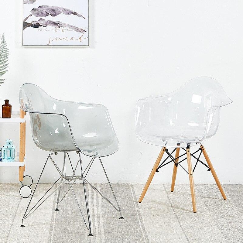 Modern minimalist transparent creative chair casual home plastic back office chair lazy desk chair WF610208
