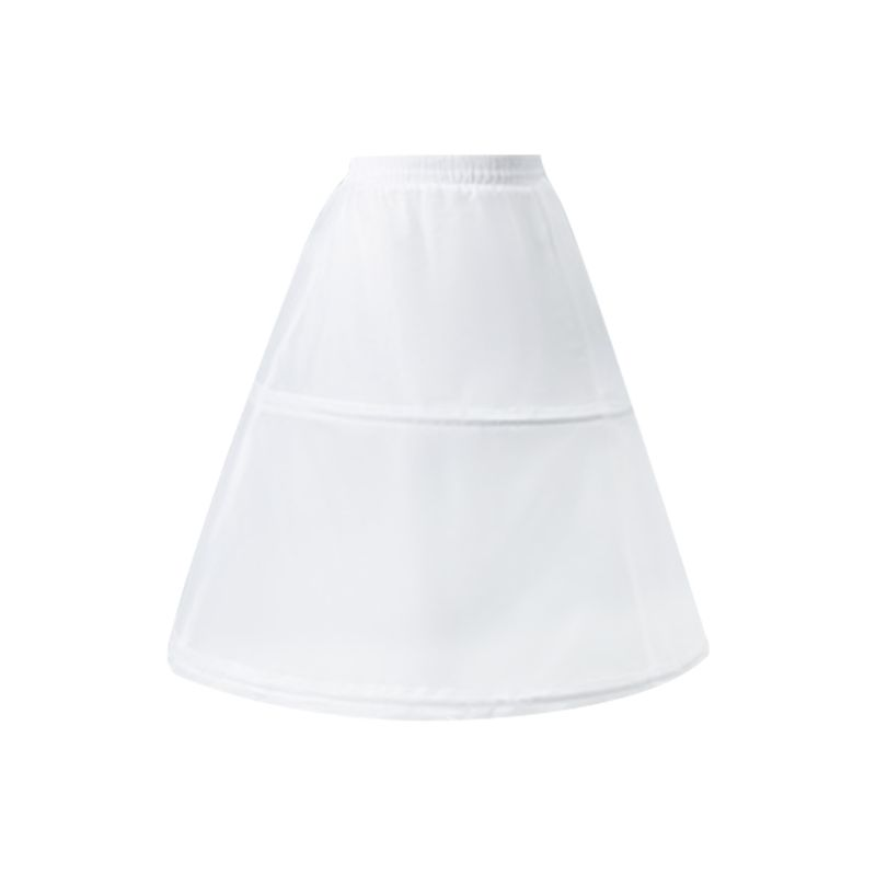 Women Flower Girl 2 Hoops Short White Petticoat Drawstring Waistband One Layer Half Slip Crinoline Underskirt With Magic Sticker