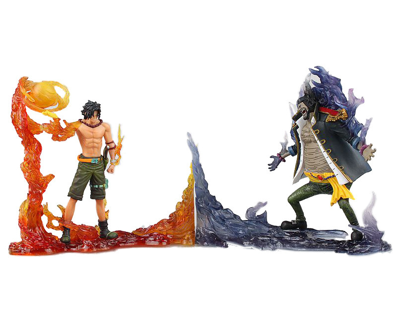 one piece vulcan Ace vs Teach fight frame model pvc action figure classic collection doll toy anime one piece fire fist ace handsome model garage kit pvc action figure classic collection toy doll