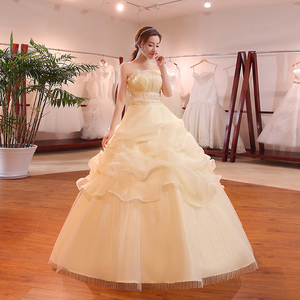 Image 3 - Hot Sale Wholesale Champagne Red White Wedding Dress 2018 New Arrival Ruffles Appliques Sweetange Korean Style bride Summer