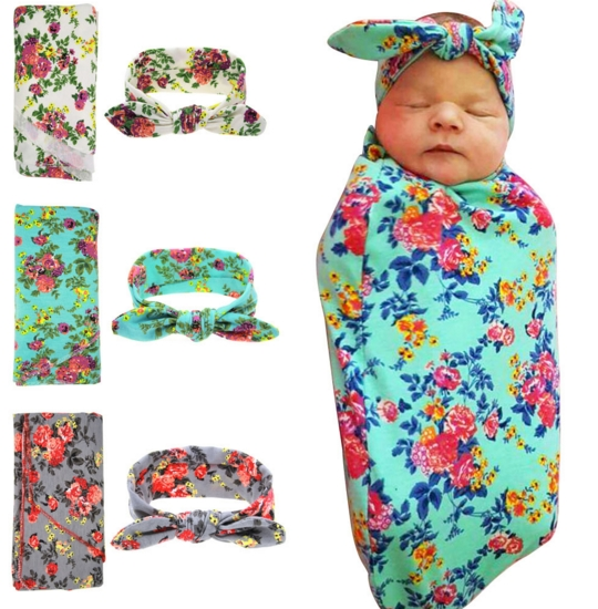 Hot sale baby blankets infant wrap kids rabbit ears with flower wrapping blanket photographed props suit