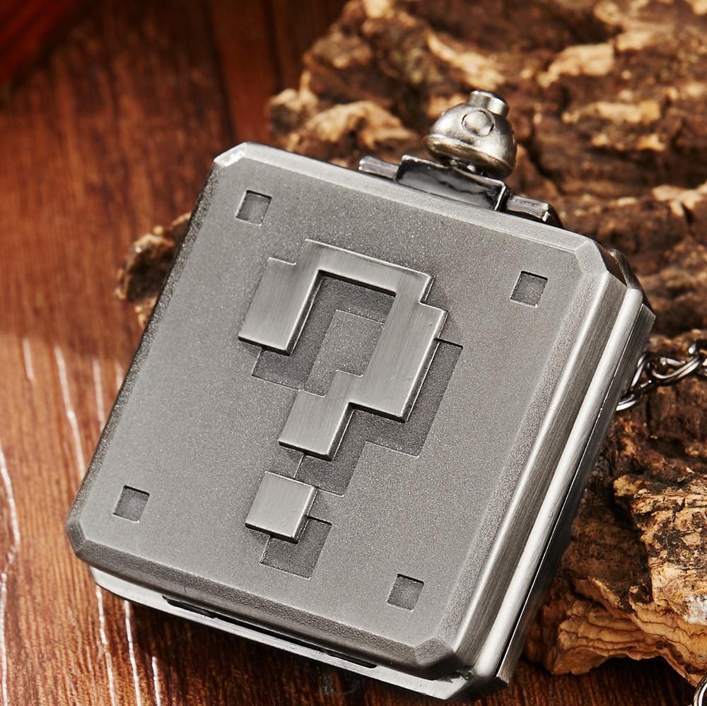 Antique Mario Retro Pixel Question Box Quartz Pocket Watch Big Number Unique Square Quartz Necklace Watch Pendant FOB Chain Gift
