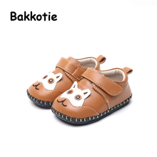 Bakkotie 2017 New Autumn Fashion Infant Shoes Girl Brand Genuine Leather Flats Brown Cute Cat Breathable Soft Sole Boy Sheepskin