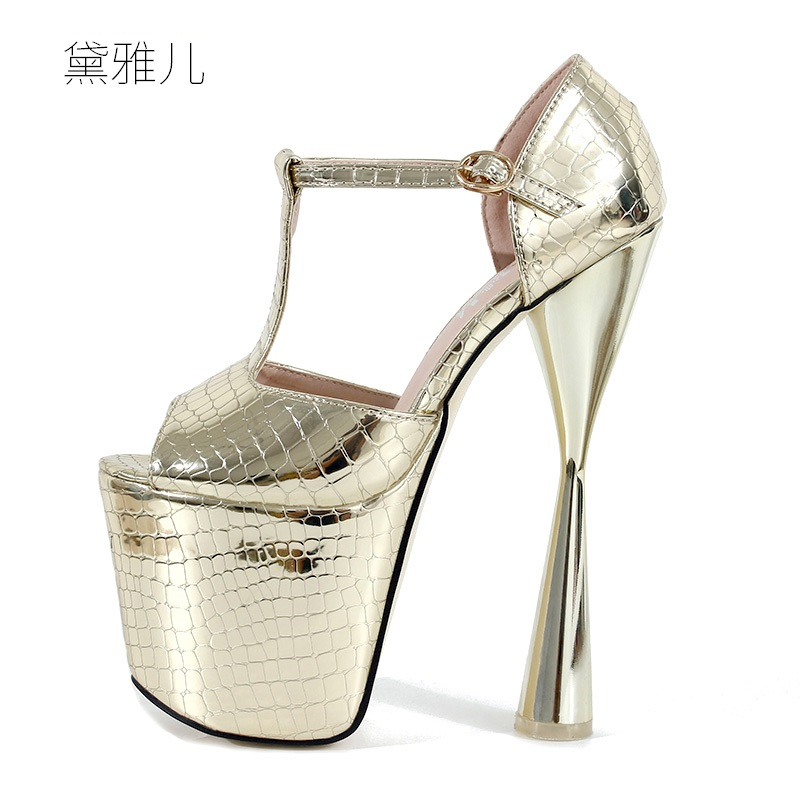 2018 Plus Size 34-43 Gold Summer Style Sexy Ultra High Platform Heels Sandals for Women's with Shoes Woman Wedding Ladies Silver 2018 plus size 40 50 summer style fashion red sexy high heels for sandals women s with female shoes woman wedding ladies black