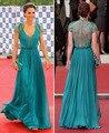 Azul elegante de noche largo Vestidos con encaje transparente volver Kate Middleton Sexy V cuello vestido de la celebridad Vestidos de Festa