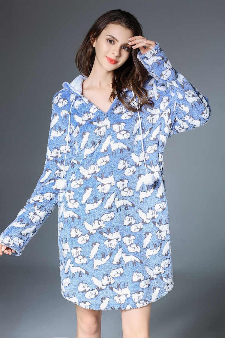 Бесплатная доставка. зимняя брендовая новая женская одежда для сна, милая  Теплая Флисовая Домашняя одежда 47f197971e0
