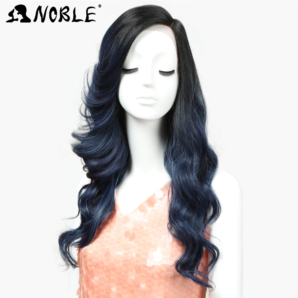 Noble Lace Front Wig Synthetic Loose Wave 22 Inch Long Side Part Ombre Wigs For Black Women Heat Resistant African American Hair