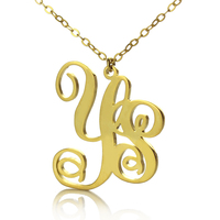 Freeshipping 2 Letters Monogram Necklace Personalized 2 Initials Monogrammed Gold Over 925Silver Customized Pendant To US