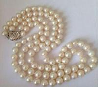 double 8 9mm south sea natural white round shape necklace 18inch 17inch>Dongguan girl Store free shipping
