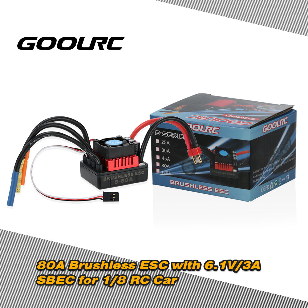 GoolRC S-80A Brushless ESC Electric Speed Controller with 6.1V 3A SBEC for 1:8 RC Car Trucks Climbing Cars 80a brushless electric motor speed controller for r c helicopter boat car