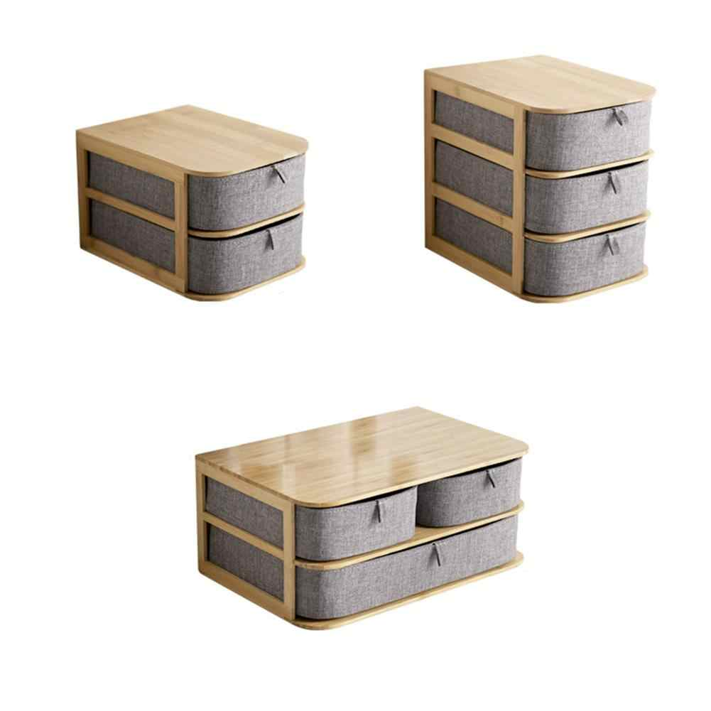 Multi Layer Drawer Bamboo Wood Desktop Storage Box Multifunctional