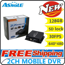 Mini CCTV 2 Channel Mobile Taxi Bus Vehicle Security DVR Motion Detect 2Ch Audio I/O Alarm Realtime Support SD Card 128GB