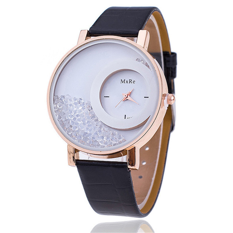 New Fashion Leather Strap Women Watches Rhinestone Wrist Watch Casual Women Dress Watches For Lover Gift Hot Relojes Hombre 2017