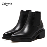 Gdgydh Autumn Winter Chelsea Boots Women Pointed Toe Elastic Band Short Plush Worker Shoes Black Ankle