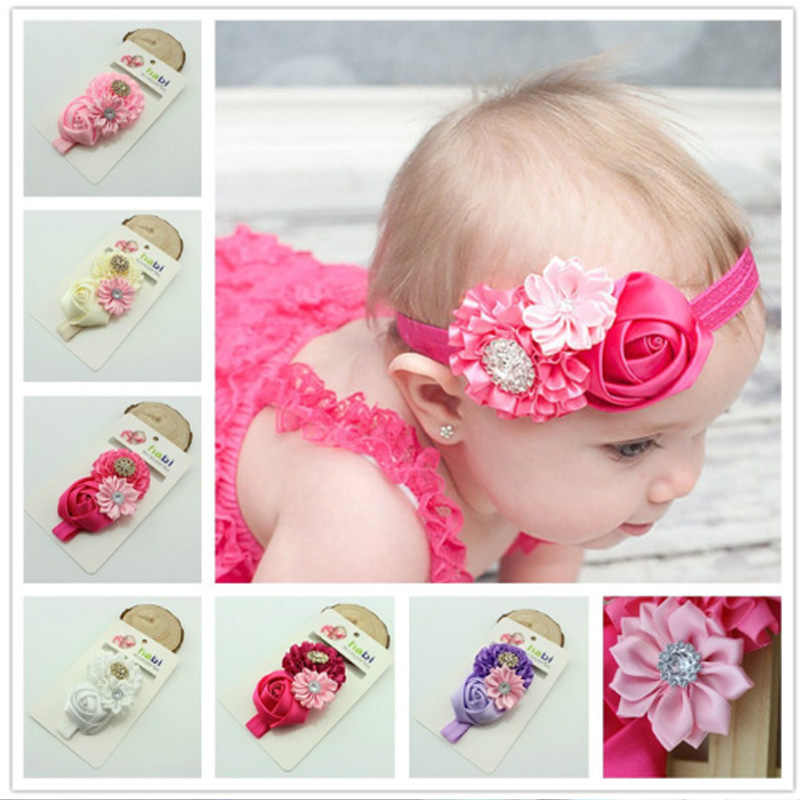 Baby Headband Ribbon Infant Toddler Kids Hair Accessories Girl Newborn crystal bandage Turban Flower Floral Headwear tiara T192