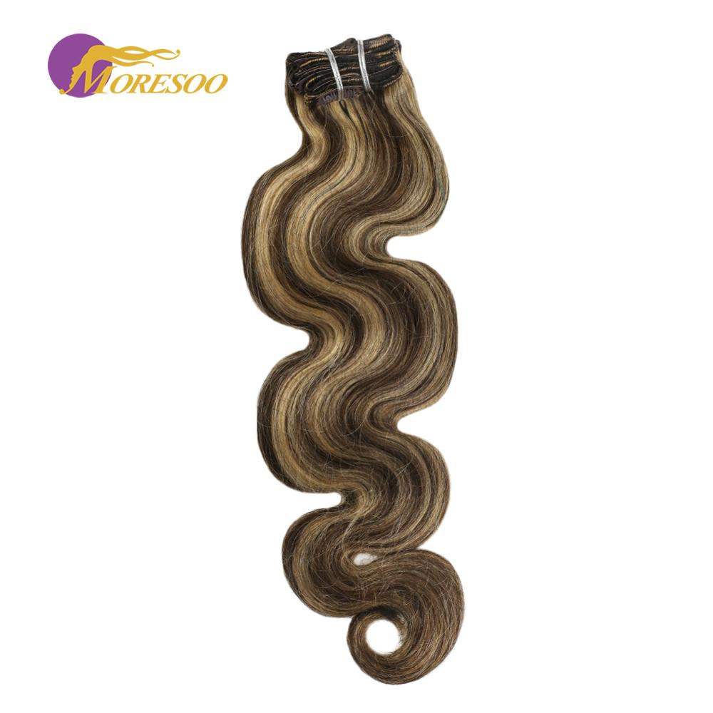 Moresoo Body Wave Clip In Hair Extensions Remy Human Hair Highlights Blonde Color #P4/27 Clip In Full Head Set 7pcs/100g