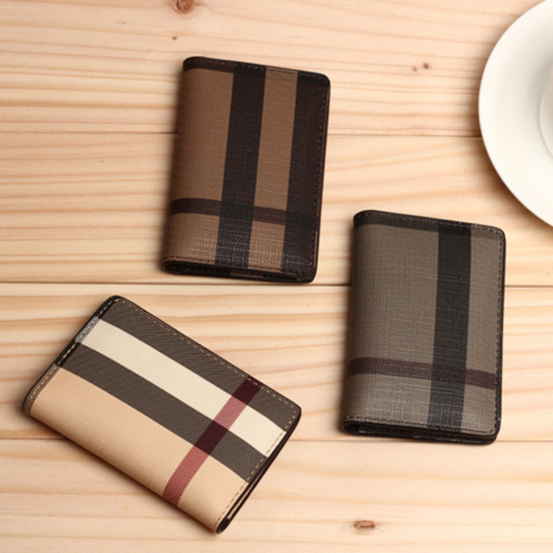 Men Mini wallet 3 Colors fashion Classic Plaid Design bank Card ID Holders Top Quality leather brand male coin pocket for women