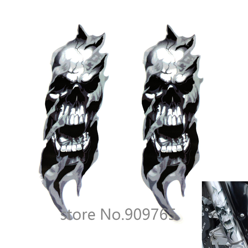 Motorcycle Front Fork Skull Decals Stickers For Harley Sportster Dyna Electra Glide Softail Street Glide Touring black skull horn carburetor cover for harley davidson softail dyna sportster glide big twin electra