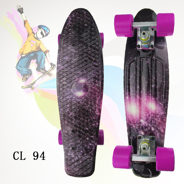"""Complete Plastic Skateboard 22"""" pney Board with Colorful Plastic Mini Fish Board forBoy Girl Mini Skate Crusier 6Types Available"""