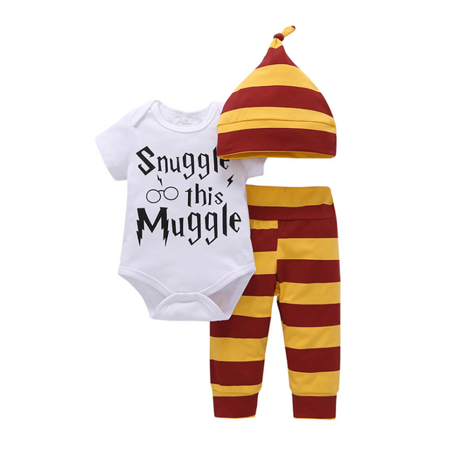 "3PC Wizard Themed Outfit ""Snuggle this Muggle"" - Bodysuit + Striped Pants + Striped Hat 3"