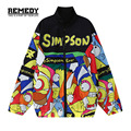 2016 Autumn Spring New Harajuku Style Stand Cartoon loose women long sleeve Windproof Jacket coat Women Men Plus Size
