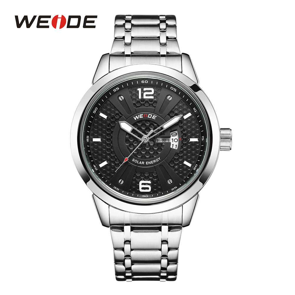 WEIDE Quartz Sport Water Resistant Watches Men Analog Clock Black Dial Auto Date Waterproof Stainless Steel Band Solar EnergyWEIDE Quartz Sport Water Resistant Watches Men Analog Clock Black Dial Auto Date Waterproof Stainless Steel Band Solar Energy